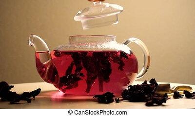 jeûne, thé, brassage, peu, footages., carcade, rouges