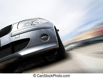 jeûne, voiture, en mouvement, à, ternissure mouvement