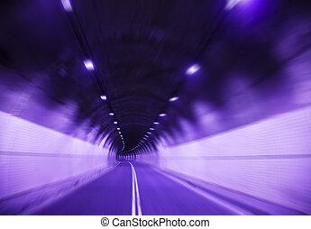 jeûne, vue, tunnel, barbouillage, conduite