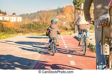 jeżdżenie, bicycles, dzieci, rodzina, natura