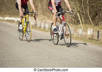 jeżdżenie, bicycles, samiec, atleci