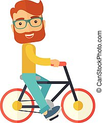 jeżdżenie, człowiek, bicycle.