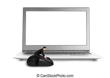 jeżdżenie, ekran, mysz, laptop, czysty