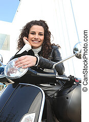 jeżdżenie, kobieta, motocykl