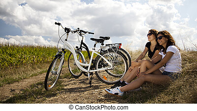jeżdżenie, kobieta, rower