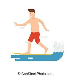 jeżdżenie, machać, surfer, człowiek
