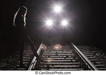 jeżdżenie, pociąg, i, dziewczyna
