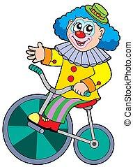 jeżdżenie rower, rysunek, klown
