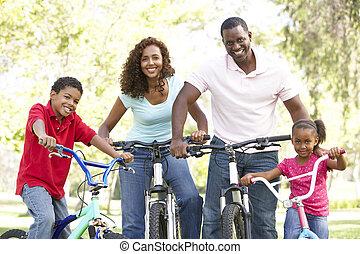 jeżdżenie rowery, park, młoda rodzina