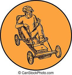 jeżdżenie, soapbox, jeździec, akwaforta
