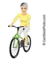 jeżdżenie, starsza kobieta, rower, szczęśliwy
