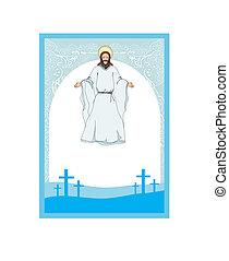 ježíš, vektor, požehnat, ilustrace, kristus
