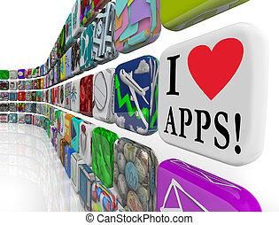 je, amour, apps, mots, appplication, logiciel, carreau, icônes, exposer