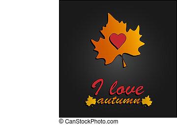 je, amour, autumn., coeur, symbole, dans, feuilles automne