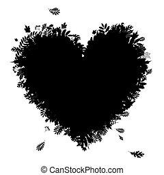 je, amour, autumn!, forme coeur, depuis, feuilles chute, noir, silhouette