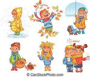 je, amour, autumn., promenade, sur, dehors