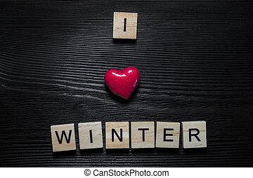 je, amour, hiver, concept