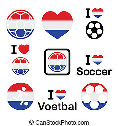 je, amour, hollandais, football, football, icônes