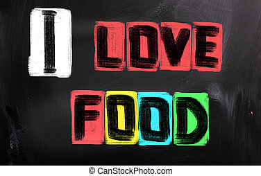je, amour, nourriture, concept