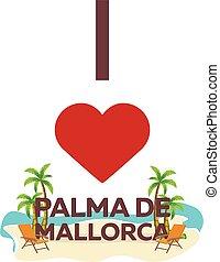 je, amour, palma, de, mallorca., travel., paume, été, salon, chair., vecteur, plat, illustration.