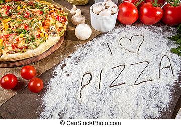 je, amour, pizza, écrit, dans, farine