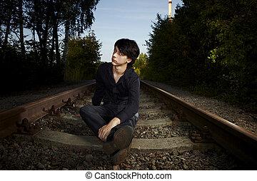 je, est, attente, pour, a, train