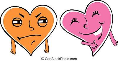 Jealous cartoon heart