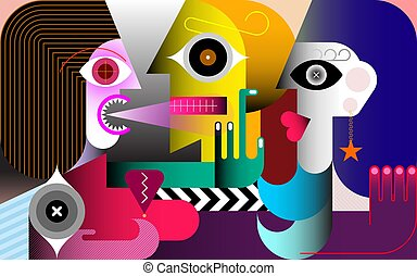 Jealousy modern art vector illustration. A woman screams at a man. Man cheating his girlfriend with another woman.