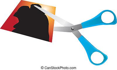 scissors cutting romantic couple photo