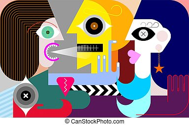 Jealousy modern art vector illustration. A woman screams at a man. Man cheating his girlfriend with another woman. Green-eyed monster.