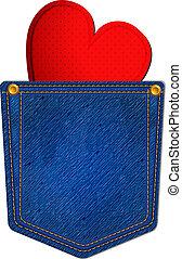 jean azul, bolso, com, coração