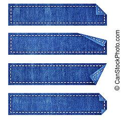 jean azul, etiqueta