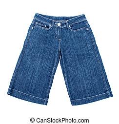 jean azul, shorts, ligado, isolado, fundo branco