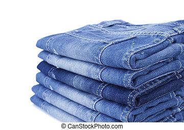 jean bleu, blanc, isolé, fond
