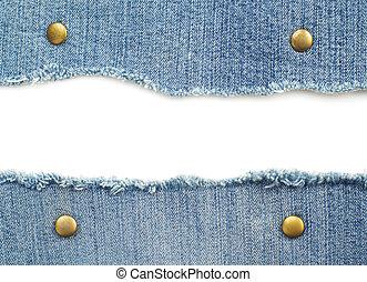 jean bleu, isolé, blanc