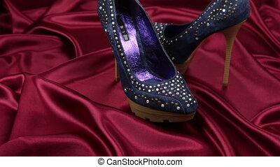 jean, chaussures, prise vue., cloth., paire, rouges, glisseur, femme