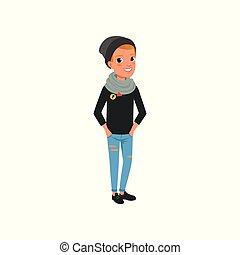 jean, conception, branché, scarf., bleu, habillé, poser, caractère, noir, pockets., adolescent, plat, déchiré, chapeau, mains, dessin animé, gosse, garçon, chandail, vecteur, élégant, vêtements