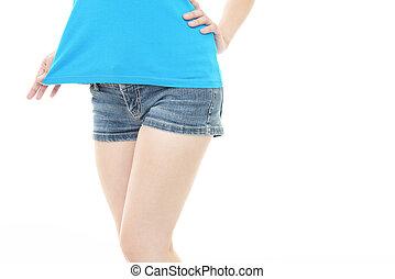 jean, femme, shorts bleu