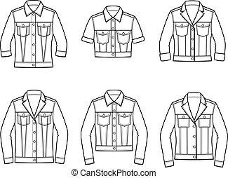 jeans jacket vector illustration set of men s and women s jeans