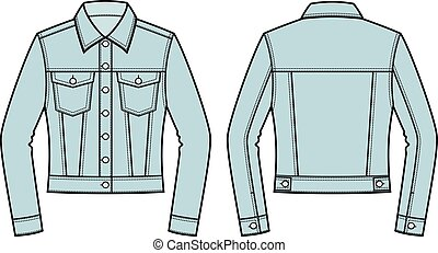 jean jacket vector illustration of jean jacket front and back