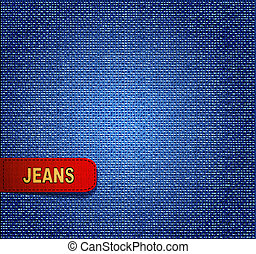 jean, vecteur, arrière-plan rouge, étiquette