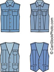 Jean vest - Vector illustration of jean waistcoat. Clothes...