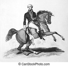 Jean Victor Marie Moreau (1763-1813) on engraving from the 1800s. French general who helped Napoleon Bonaparte to power, but later became a rival and was banished to the United States.