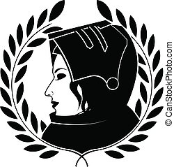 jeanne d'arc and laurel wreath. second variant - jeanne darc...