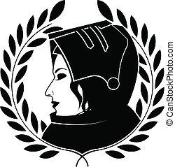 jeanne darc and laurel wreath. second variant. vector illustration