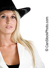 Jeanne-Marie dressed in business Black and White suit with hat