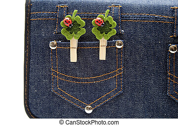 jeans, 호주머니, 와, 입체 교차로