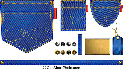 Jeans accessories, pocket and buttons on white, vector...