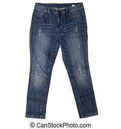 jeans, aislado, blanco