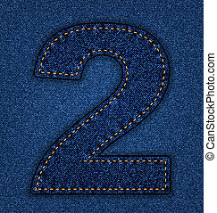 Jeans alphabet number 2 - Denim number 2. Jeans alphabet. ...